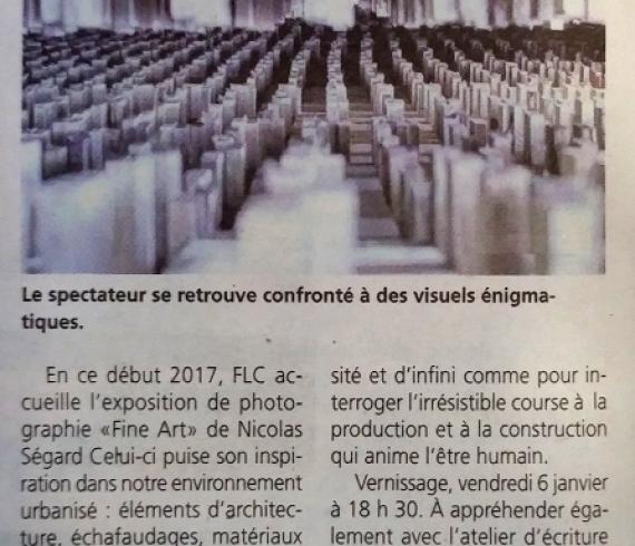 Exposition de Nicolas Ségard à FLC Article La République de Seine et Marne
